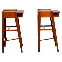 1960s Pair of Slim Tall Swedish Solid Mahogany Nightstands / Bedside Tables