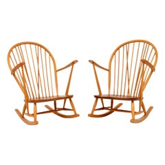 1960s Pair of Solid Elm Rocking Armchairs by Ercol