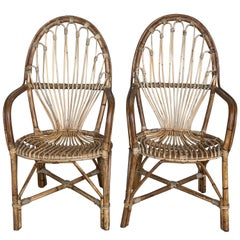 1960s Pair of Spanish Bamboo Armchairs with Ovaled Back Rest