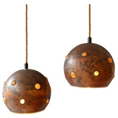 1960s Pair of Spherical Copper and Yellow Glass Pendant Lamps by Nanny Still