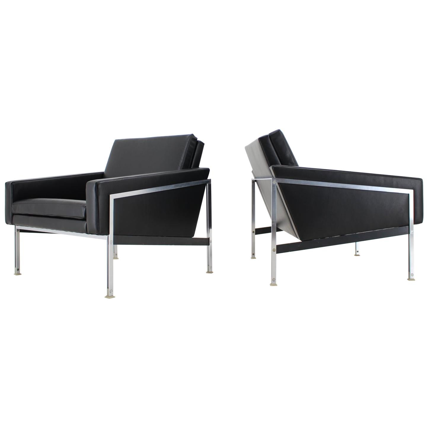1960s Pair of Steel and Leather Armchairs by Lübke, Germany