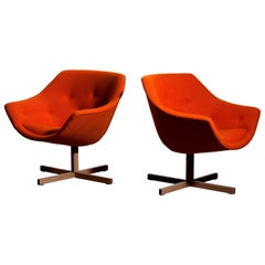 1960s, Pair of Swivel Club Lounge Armchairs by Carl Gustaf Hiort Nanna Ditzel