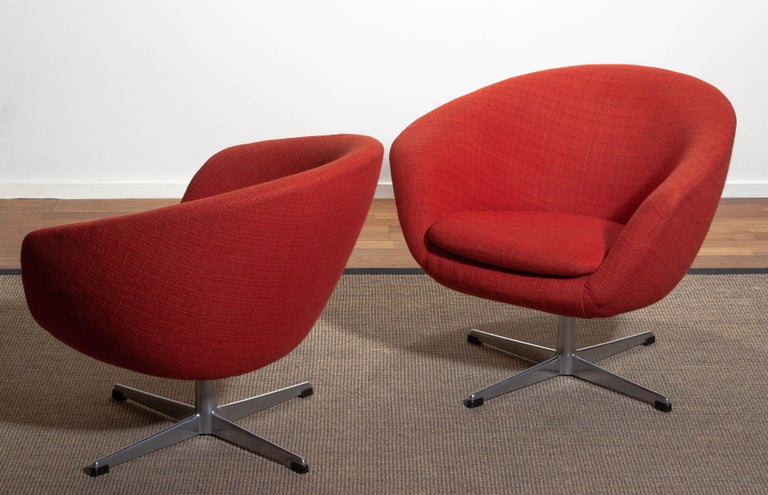 1960s, Pair of Swivel Lounge Chairs by Carl Eric Klote for Overman, Denmark In Good Condition In Silvolde, Gelderland