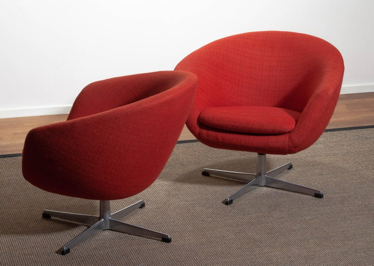 Mid-20th Century 1960s, Pair of Swivel Lounge Chairs by Carl Eric Klote for Overman, Denmark