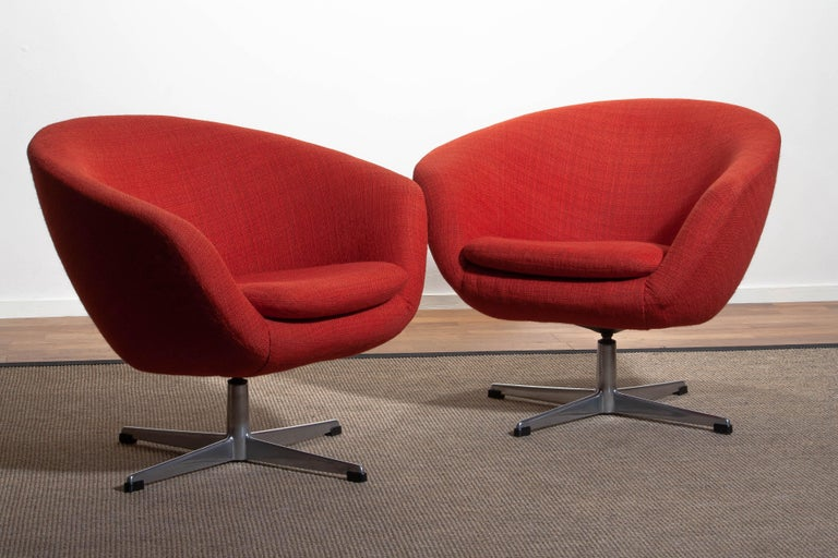 1960s, Pair of Swivel Lounge Chairs by Carl Eric Klote for Overman, Denmark 1