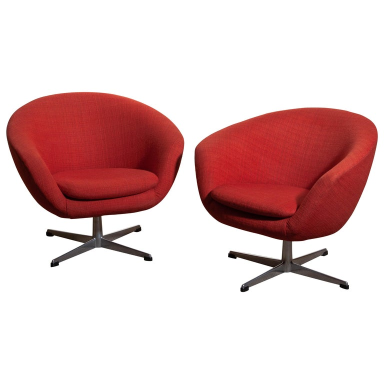 1960s, Pair of Swivel Lounge Chairs by Carl Eric Klote for Overman, Denmark