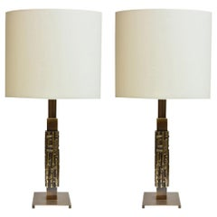 1960s Pair of Table Lamps Brass with Cream Shades Italian Design by L. Friggerio