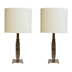 1960s Pair of Table Lamps Brass with Cream Shades Italian Design by L.Friggerio