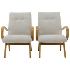 1960s Pair of Ton/Thonet Beech Armchairs, Czechoslovakia