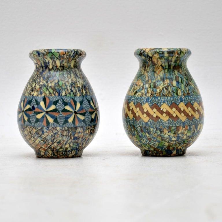 Mid-Century Modern 1960s Pair of Vallauris Ceramic 'Mosaic' Vases by Jean Gerbino