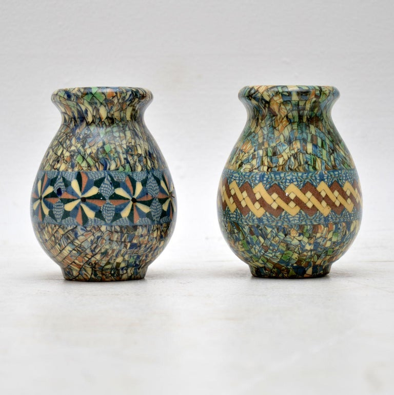 Mid-Century Modern 1960s Pair of Vallauris Ceramic 'Mosaic' Vases by Jean Gerbino For Sale