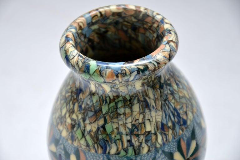 1960s Pair of Vallauris Ceramic 'Mosaic' Vases by Jean Gerbino 1