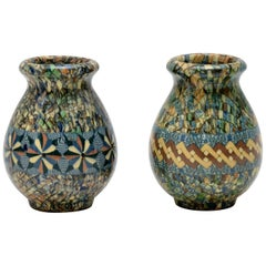 1960s Pair of Vallauris Ceramic 'Mosaic' Vases by Jean Gerbino