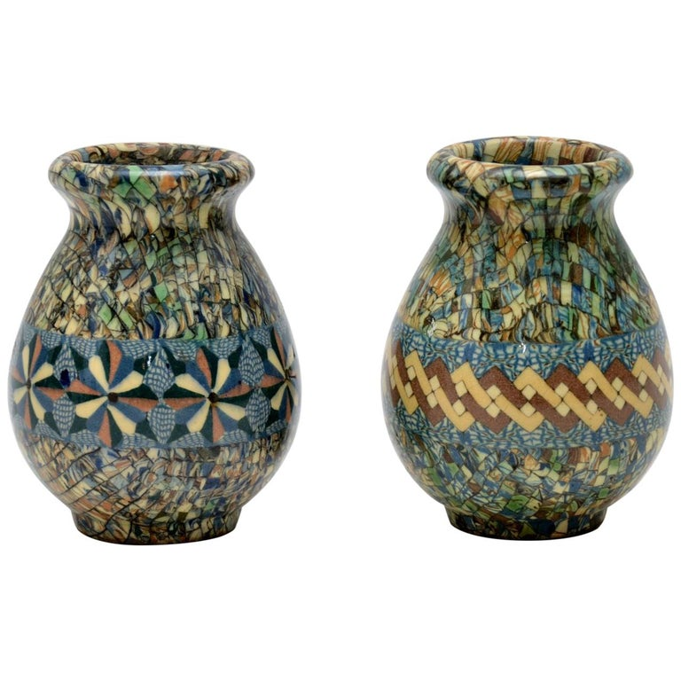 1960s Pair of Vallauris Ceramic 'Mosaic' Vases by Jean Gerbino