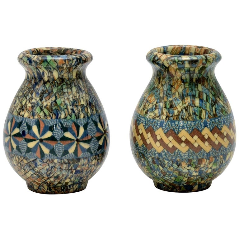 1960s Pair of Vallauris Ceramic 'Mosaic' Vases by Jean Gerbino For Sale