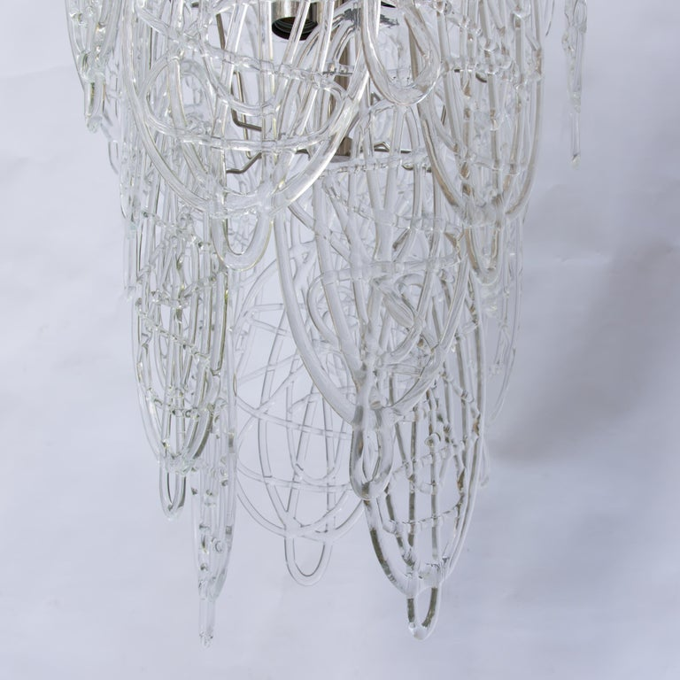 1960s Pair of Venini Ceiling Lights, Italian Murano Design Blown Clear Glass For Sale 1