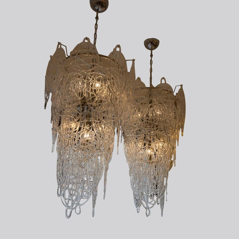 1960s Pair of Venini Ceiling Lights, Italian Murano Design Blown Clear Glass For Sale 2