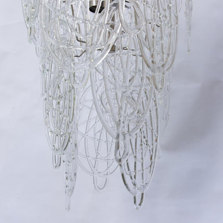 1960s Pair of Venini Ceiling Lights, Italian Murano Design Blown Clear Glass For Sale 3