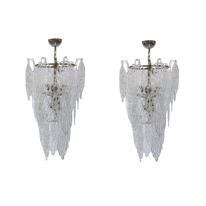 1960s Pair of Venini Ceiling Lights, Italian Murano Design Blown Clear Glass