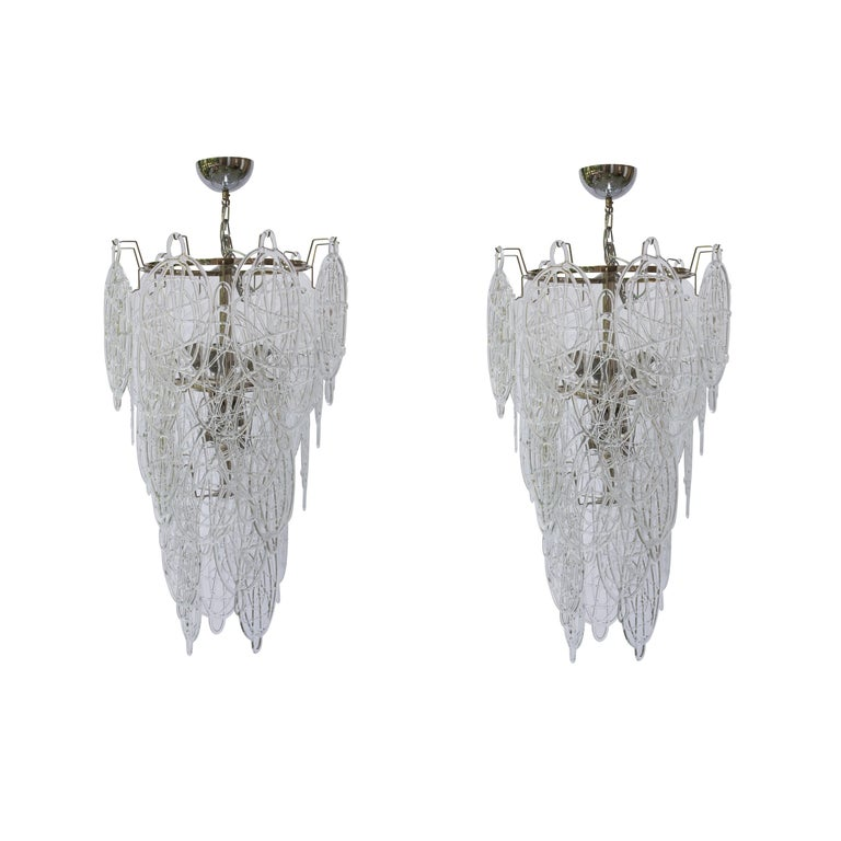1960s Pair of Venini Ceiling Lights, Italian Murano Design Blown Clear Glass For Sale