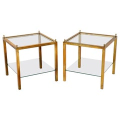 1960s Pair of Vintage Brass and Glass Side Tables