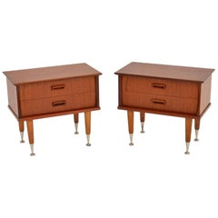 1960s Pair of Vintage Danish Teak Bedside Chests