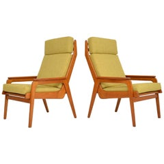1960s Pair of Vintage Dutch Teak and Oak Armchairs