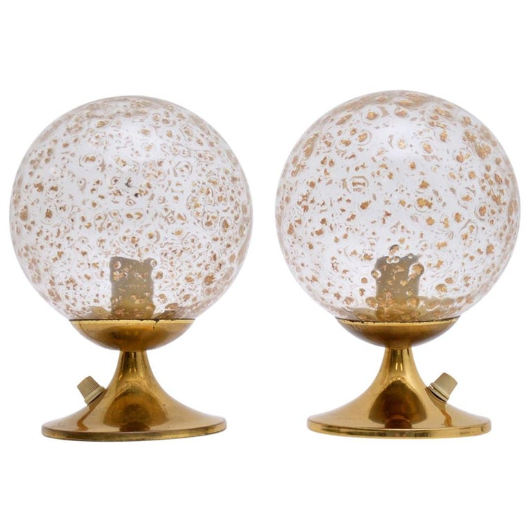 1960s Pair of Vintage Glass and Brass Lamps