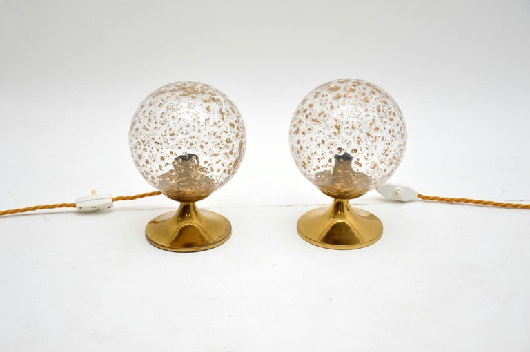 1960s Pair of Vintage Glass and Brass Lamps 1