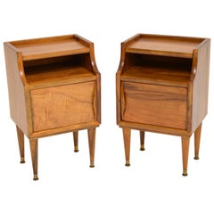 1960s Pair of Vintage Italian Walnut Bedside Cabinets