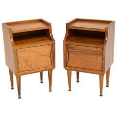 1960s Pair of Vintage Italian Walnut Bedside Cabinets