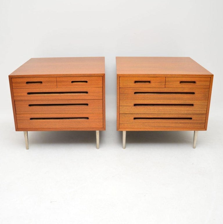 A magnificent pair of vintage mahogany chests, these were made in the USA by Dunbar furniture, they were designed by Edward Wormley. Edward Wormley was one of the leading pioneers of mid-century modern design in America, his designs are highly