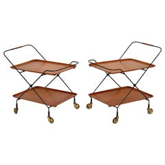 1960s Pair of Vintage Swedish Teak Side Tables or Trolleys