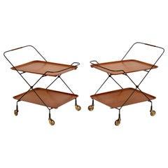 1960's Pair of Vintage Swedish Teak Side Tables / Trolleys