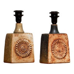 1960s, Pair of Vintage Terracotta Pottery Table Lamps by Bernard Rooke, England