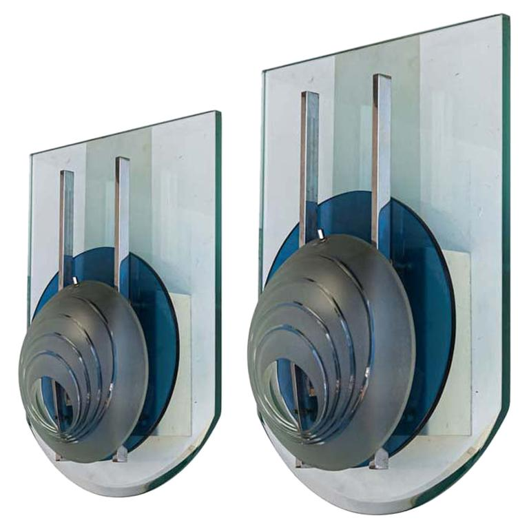 1960s Pair of Wall Lights Glass and Chrome Italian Attributed to Fontana Arte