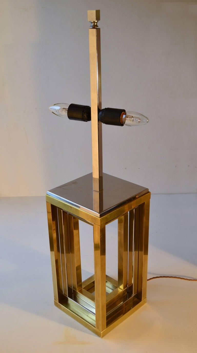 1960s Pair of Romeo Rega Table Lamps in Brass & Chrome with Original Taupe Shade For Sale 4