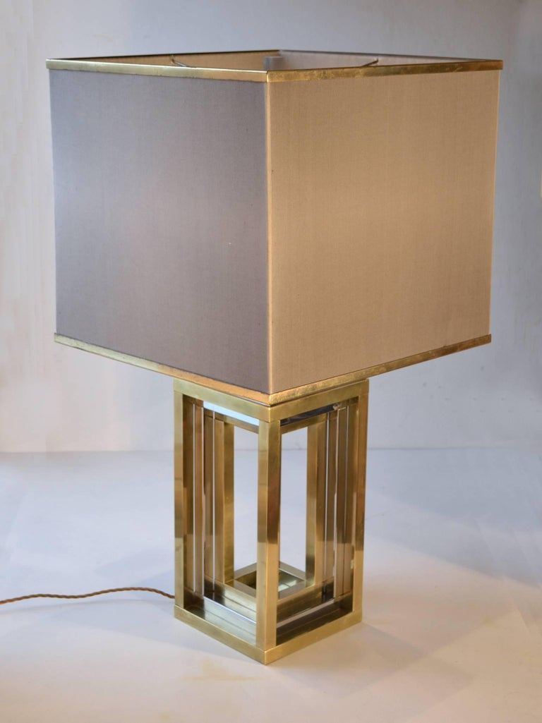 Mid-Century Modern 1960s Pair of Romeo Rega Table Lamps in Brass & Chrome with Original Taupe Shade For Sale