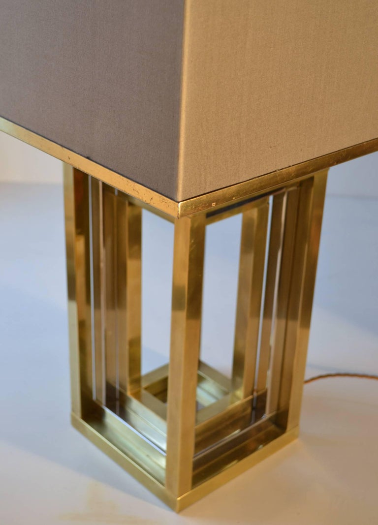 1960s Pair of Romeo Rega Table Lamps in Brass & Chrome with Original Taupe Shade In Excellent Condition For Sale In London, GB