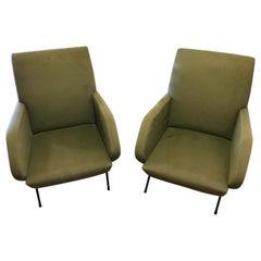 1960's Pair Original Italian Green Velvet Armchairs Vintage