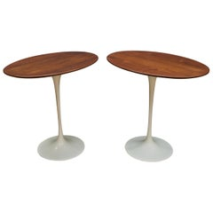 Pair of Oval Walnut Tulip Side Tables Eero Saarinen Knoll Cabin Modern Sparse