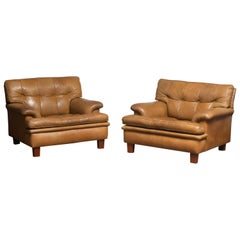 """1960s Pair Quilted Camel Buffalo Leather """"Merkur"""" Chairs by Arne Norell A.B."""