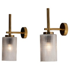 1960s Pair Swedish Brass Wall Lights / Sconces by Carl Fagerlund for Orrefors