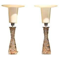 1960s Pair Swedish Table Lamps in Clear Crystal by Carl Fagerlund for Orrefors