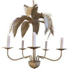 1960s Palm Beach Style Palm Frond Chandelier