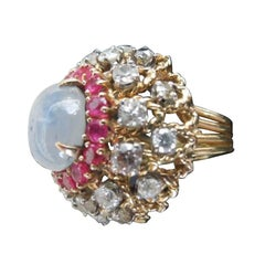 1960s Palm Springs Fashion Cocktail Ring with Diamonds, Rubies and Star Saphire