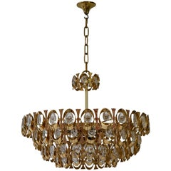 1960s Palwa Six-Light Crystal Glass and Gilt Brass Chandelier by Palwa