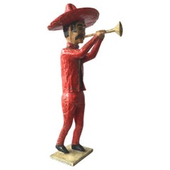 1960s Paper Mâché  Horn Player. Made In Mexico