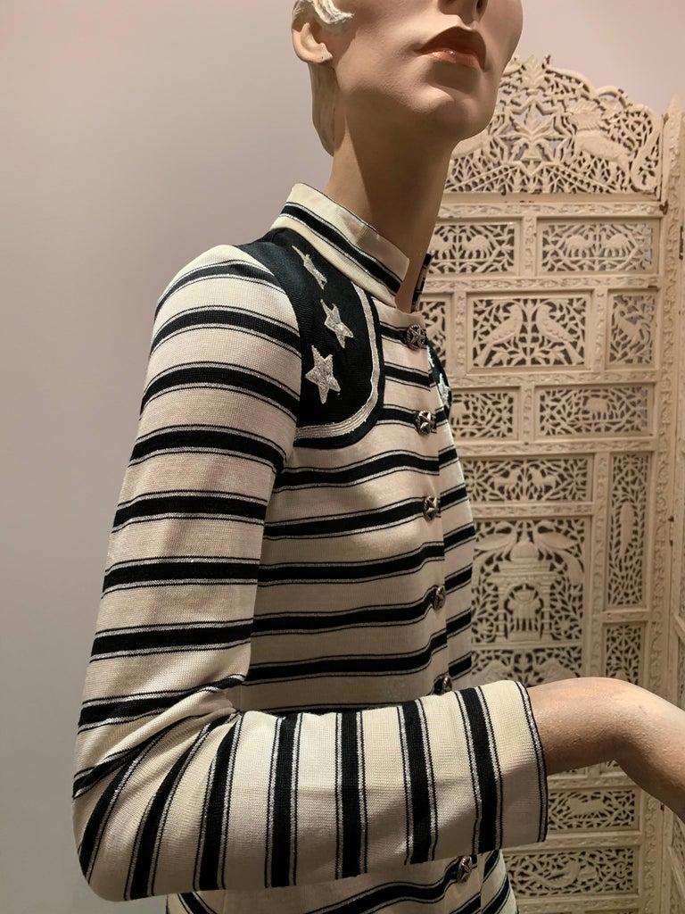 1960s Paraphernalia Nautical-Inspired Lurex Knit Mini Dress W/ Star Shoulders For Sale 6