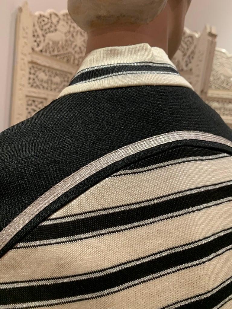 1960s Paraphernalia Nautical-Inspired Lurex Knit Mini Dress W/ Star Shoulders For Sale 7